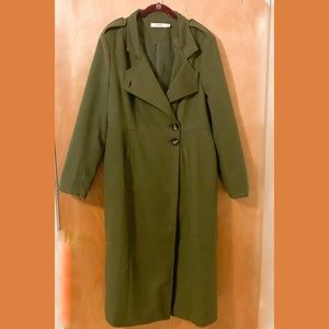 JustFab   Green Button Down Trench Coat Jacket